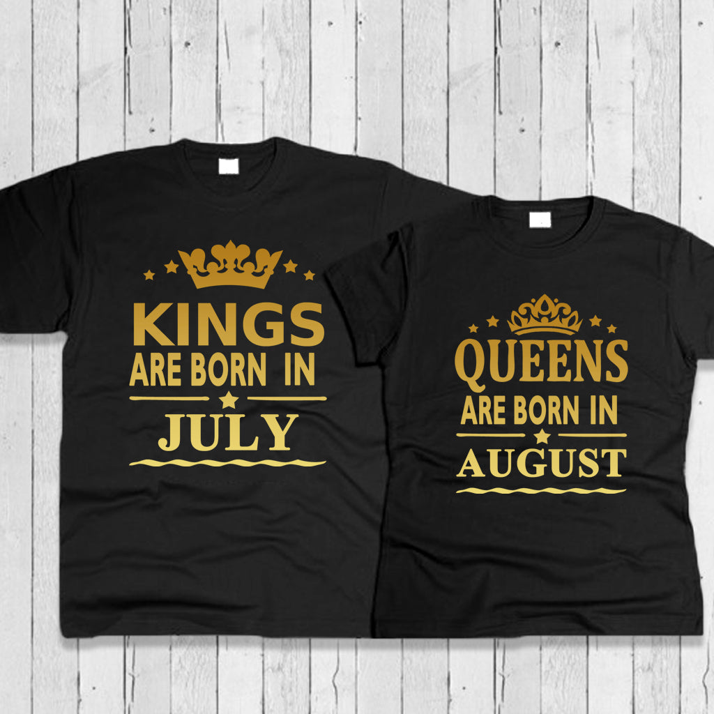 Custom King and Queen Couple T-Shirt Combo- Prepaid Only