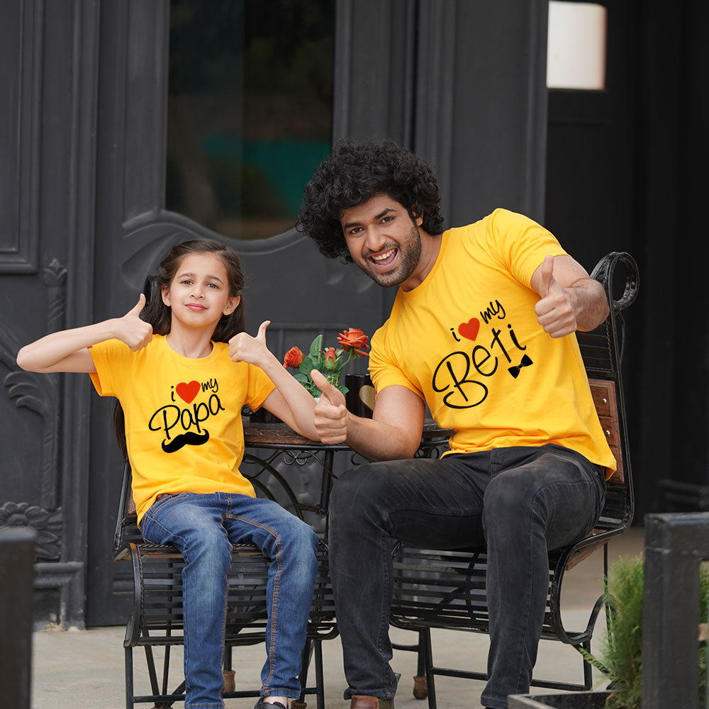 Love Papa Beti T-Shirt Dad Daughter Combo