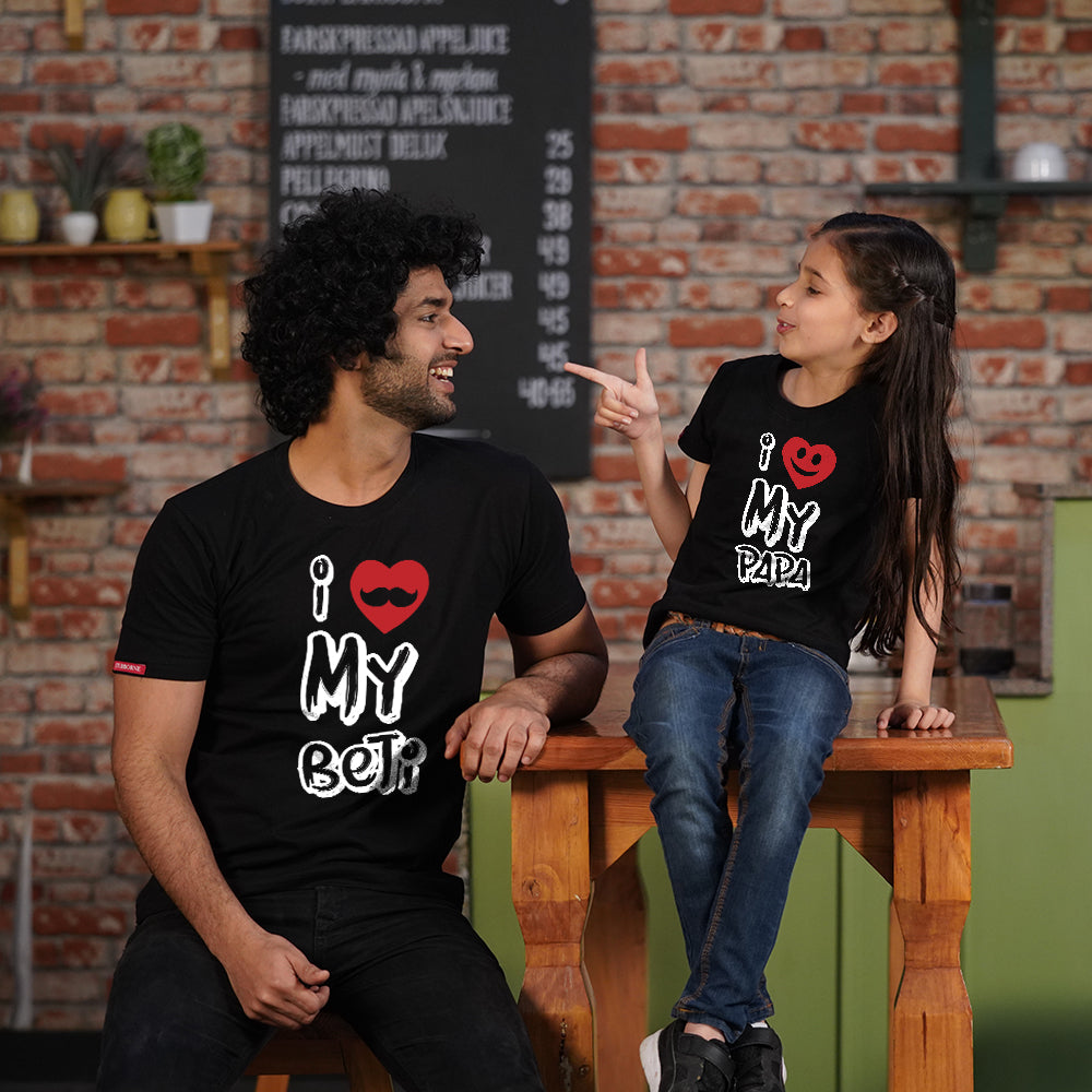 Love Papa Beti Dad Daughter Matching T-Shirts Combo