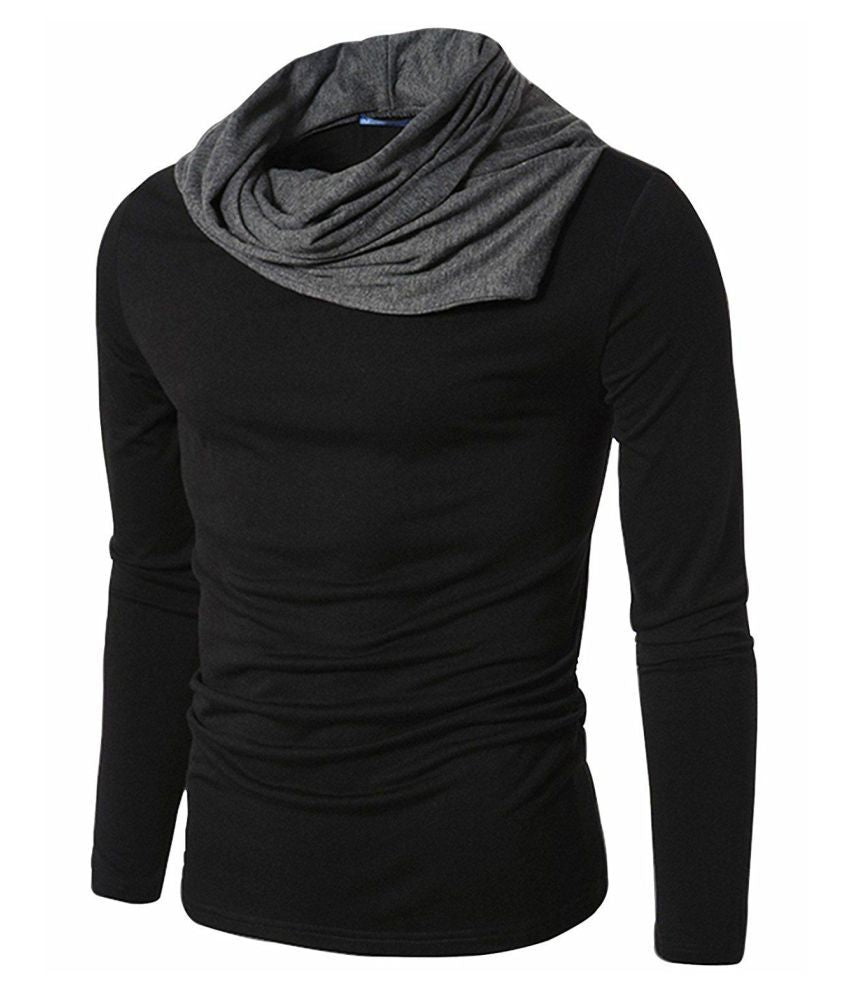 High Neck Full Sleeve T-Shirt- Black