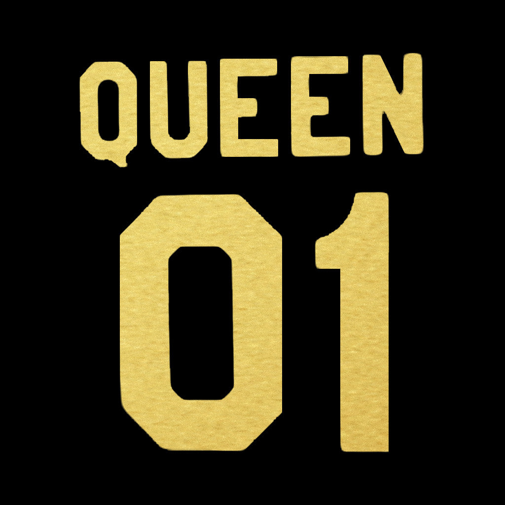 Stubborne King And Queen Back Gold Foil Print Couple T-Shirt
