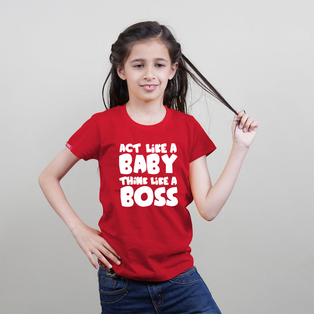 Kids Red T-Shirt (Act Like a Baby) Stubborne