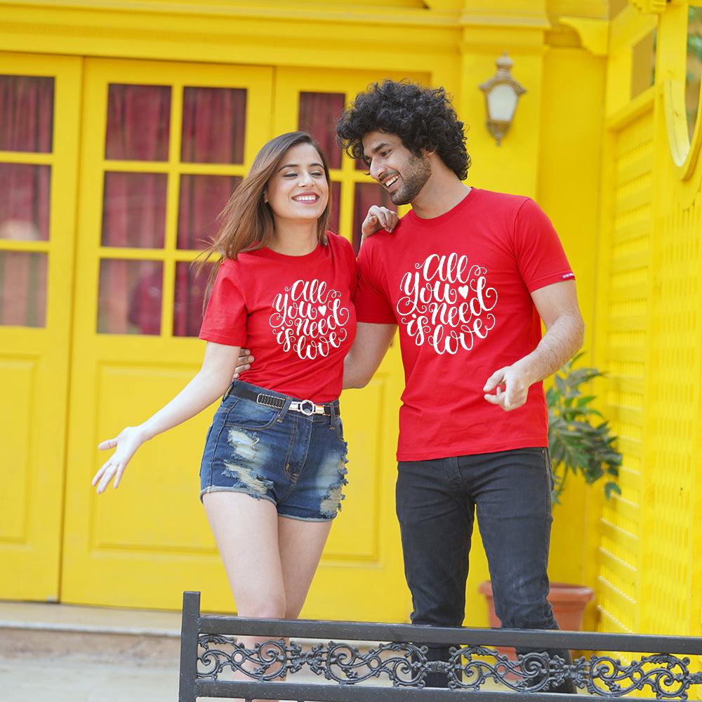 Stubborne Grow Old With You Red Couple T-Shirt