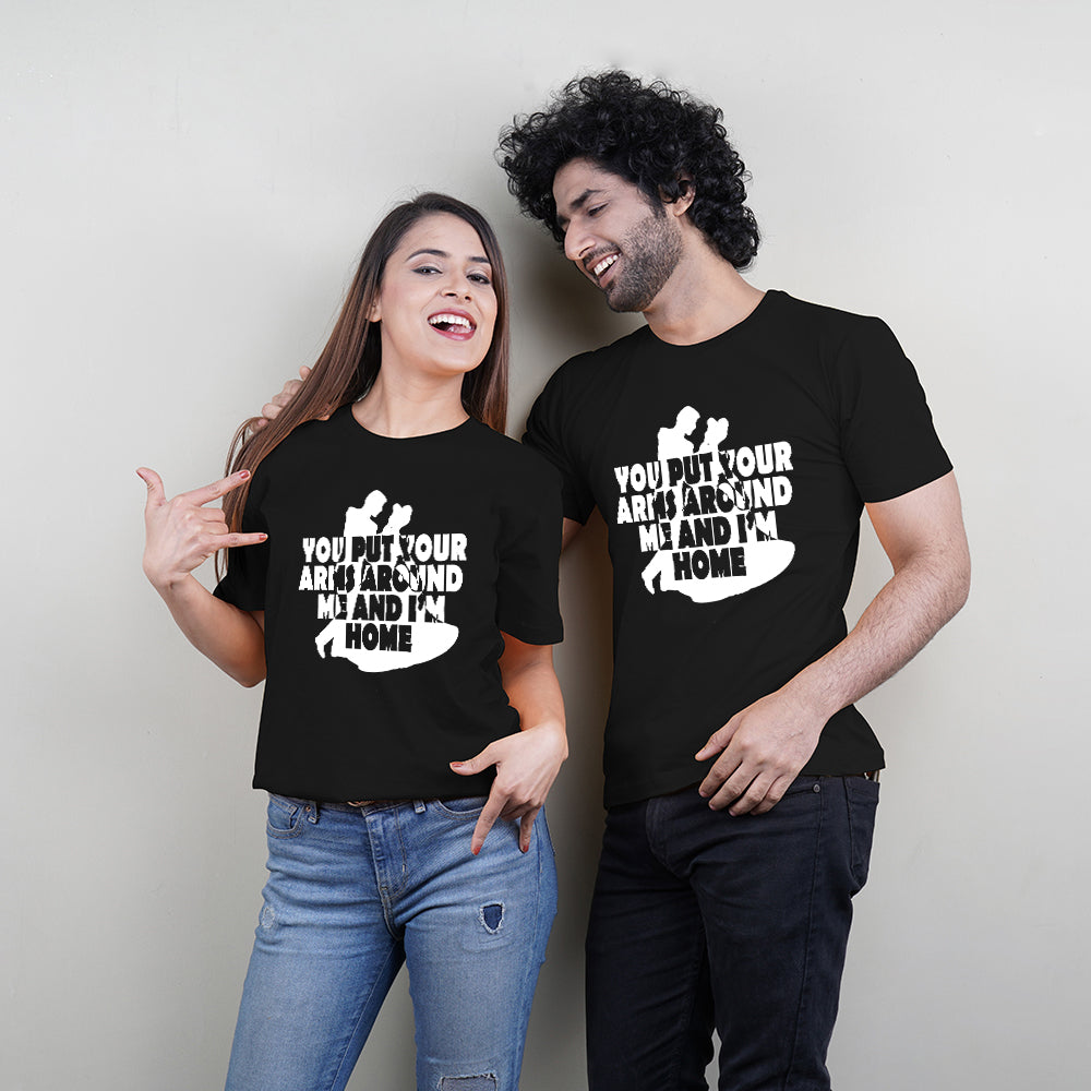 Arms Around Me Black Couple T-Shirts
