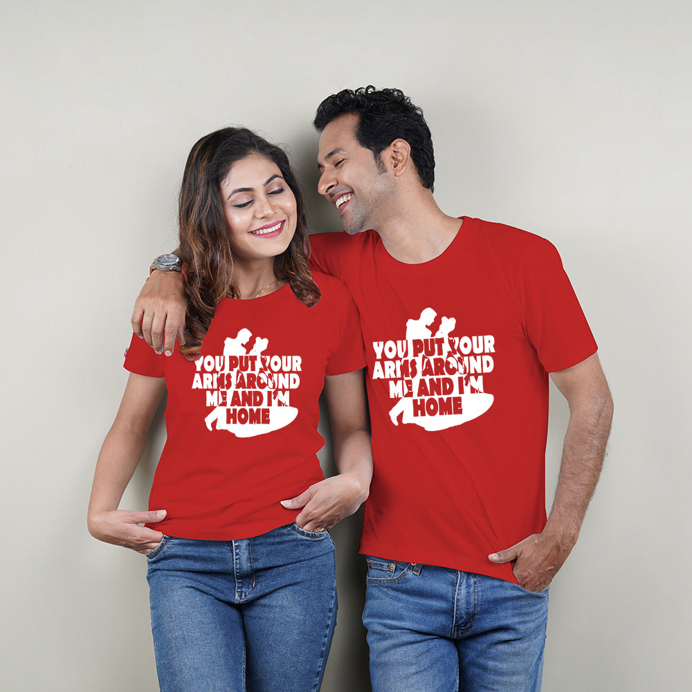 Arms Around Me Couple T-Shirts