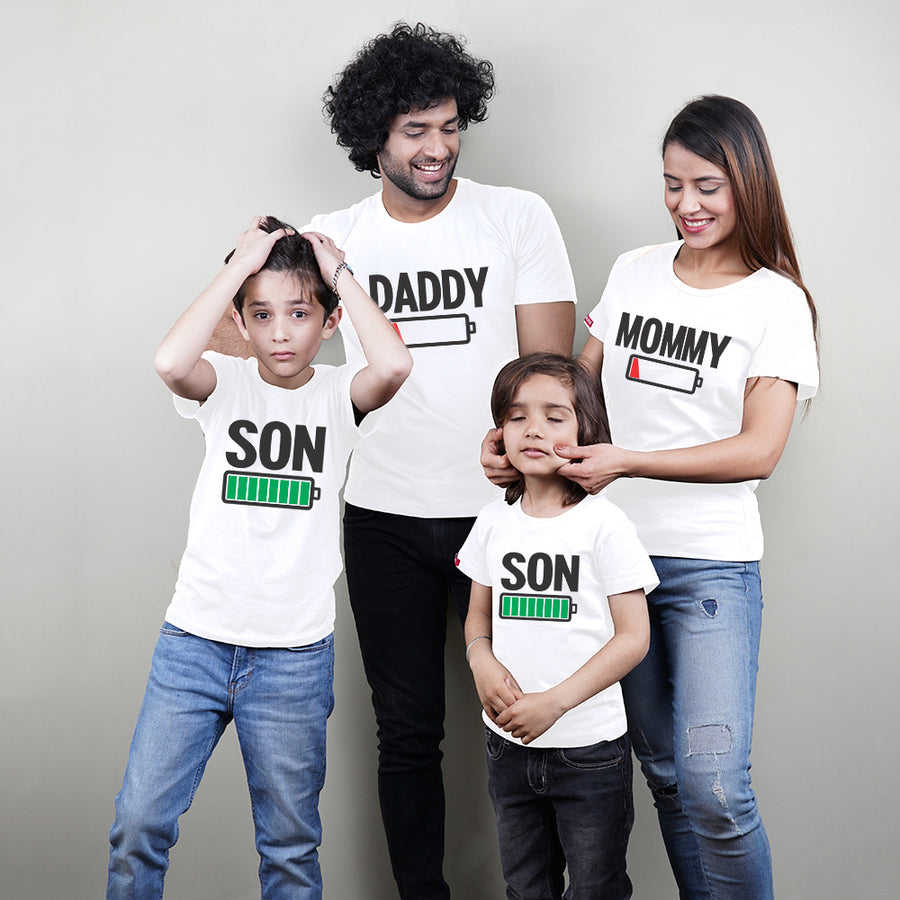 Charged Up Dad Mom Son Son Family TShirt Combo