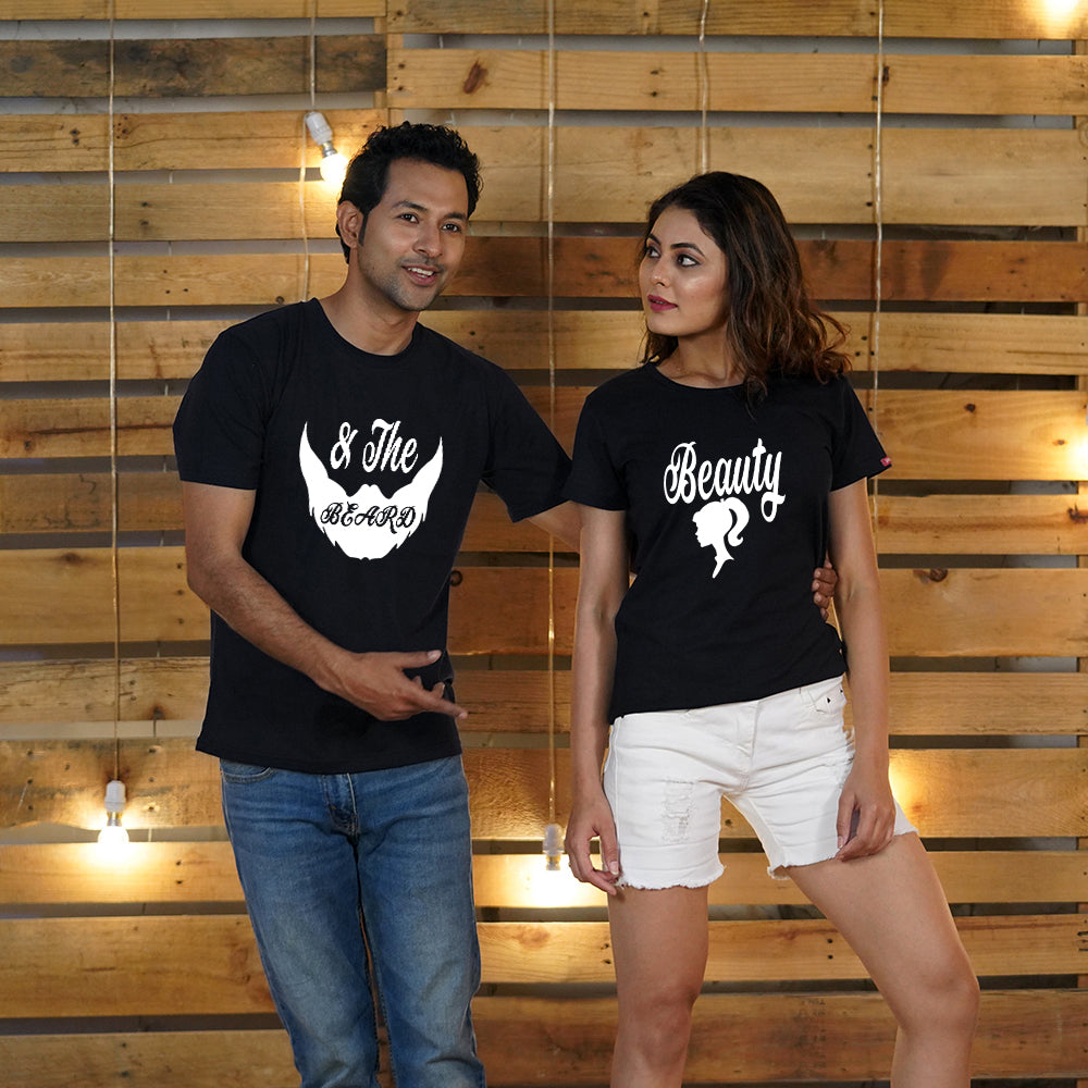 Beauty and Beard Black Couple T-Shirts