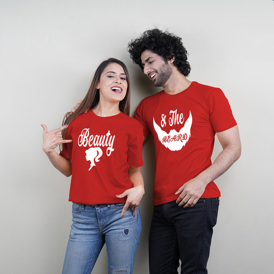 Beauty Beard Red Couple T-Shirts