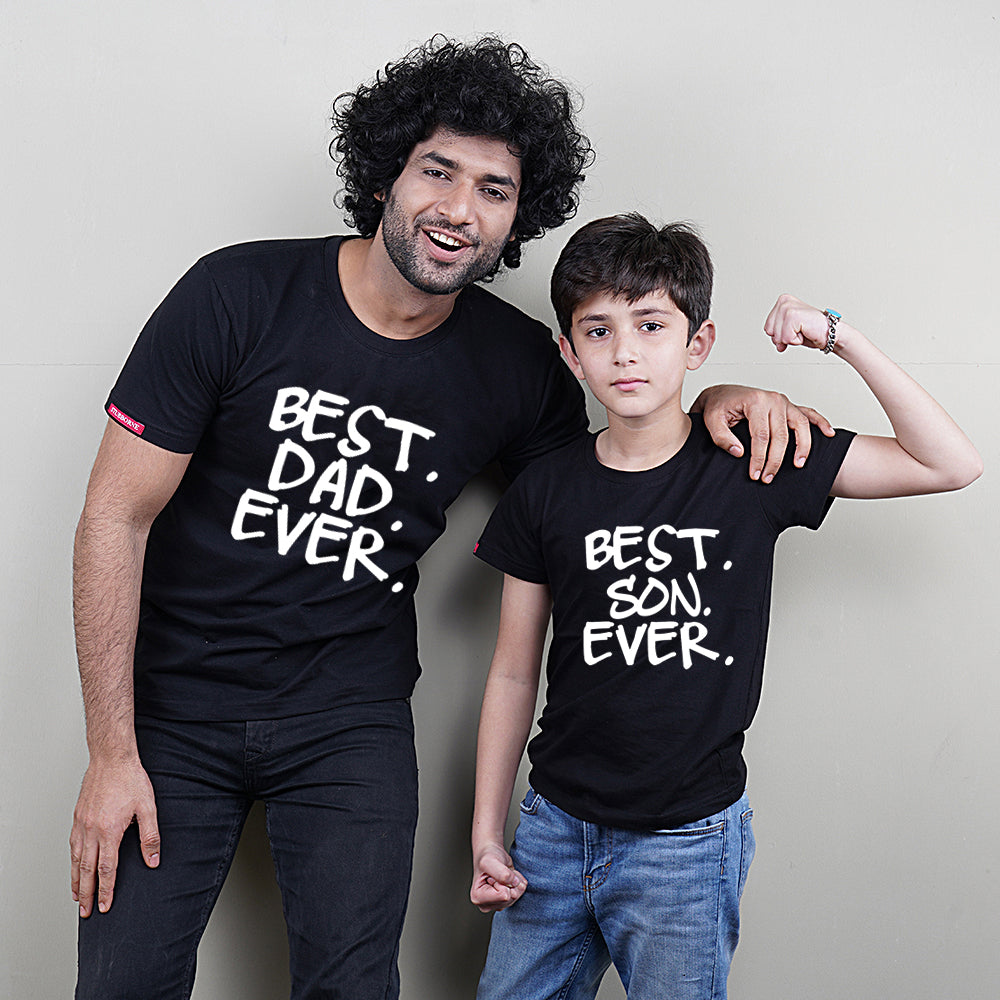Black Best Dad Son Ever T-Shirts Combo Set