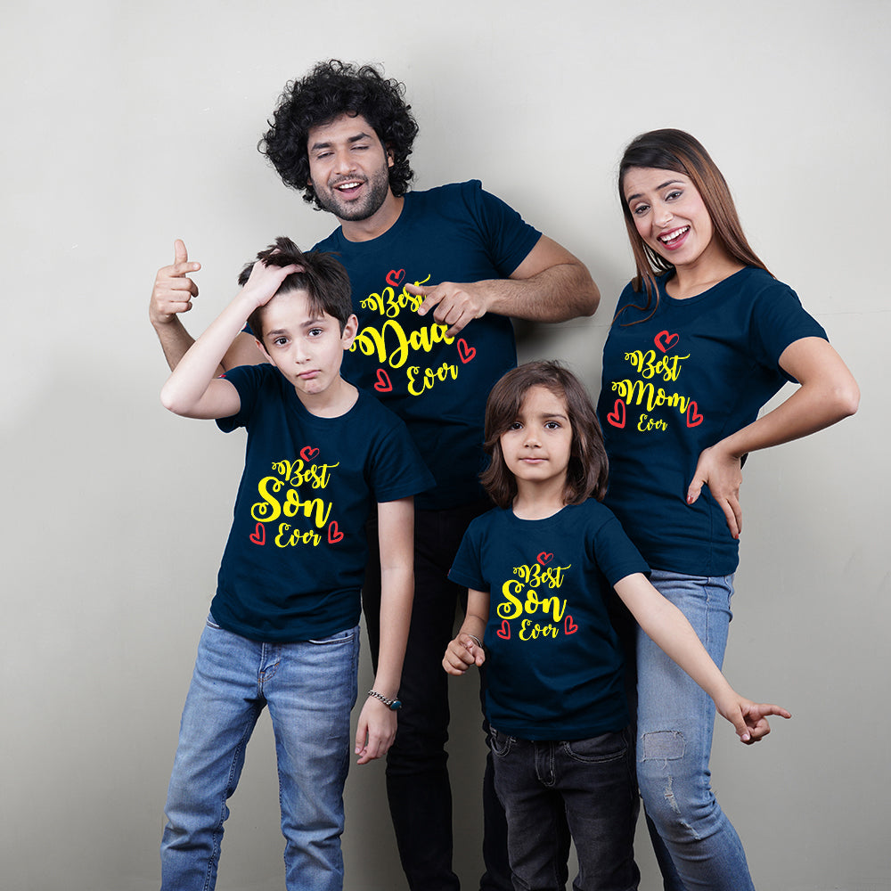 Best Mom Dad Son Ever Family TShirts for 4