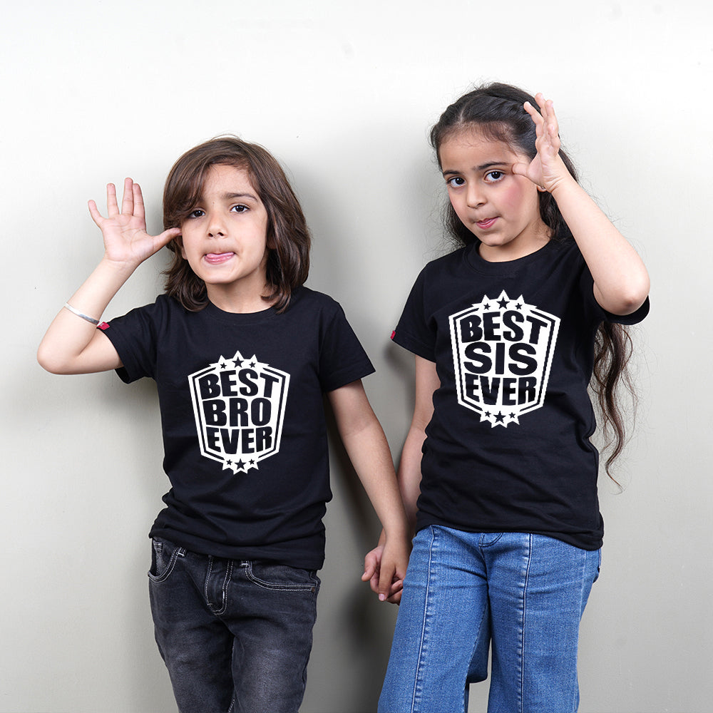 Best Sis Ever Best Bro Ever Siblings T-Shirts in Black
