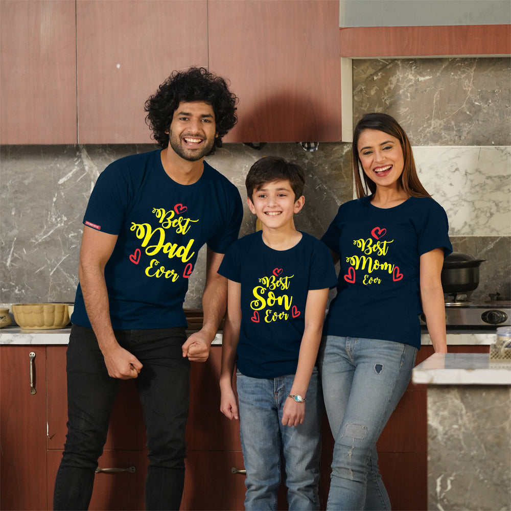 Best Dad Son Ever Family T-Shirts for 3
