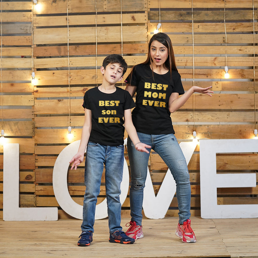 Stubborne Best Mom Son Matching T-Shirt In Gold Foil