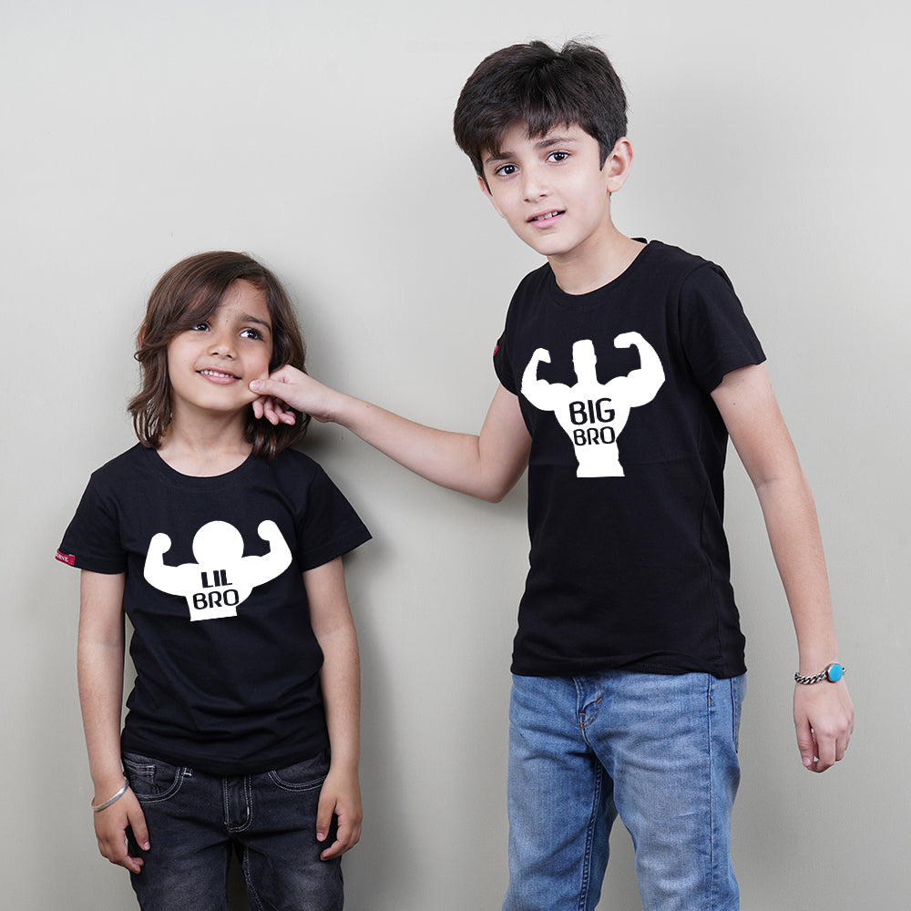 Stubborne Big Brother Little Brother Muscle Play Siblings T-Shirt Combo