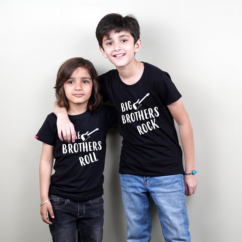 Stubborne Big Brother Rock-Little Brother Roll Matching Sibling T-Shirt