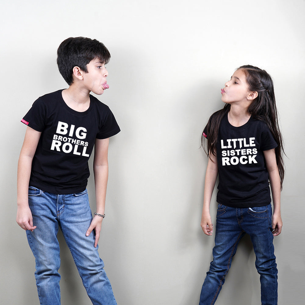 Stubborne Big Sister Little Brother Rock Siblings T-Shirt Combo