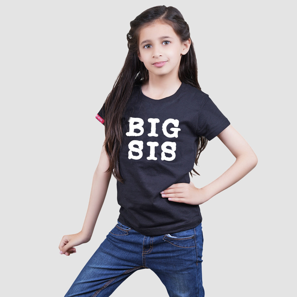 Stubborne Big Lil Sister Sister Matching Siblings T-Shirt Combo