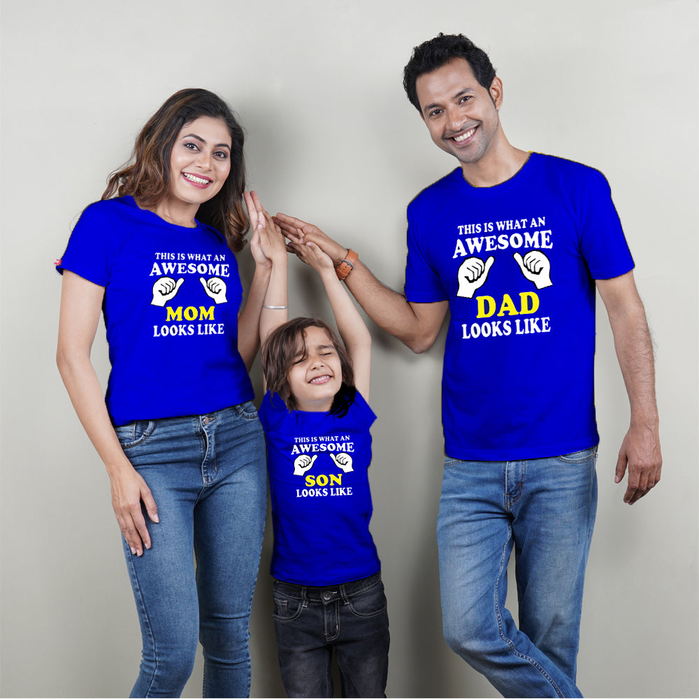Awesome Mom Dad Son Family T-Shirts for 3