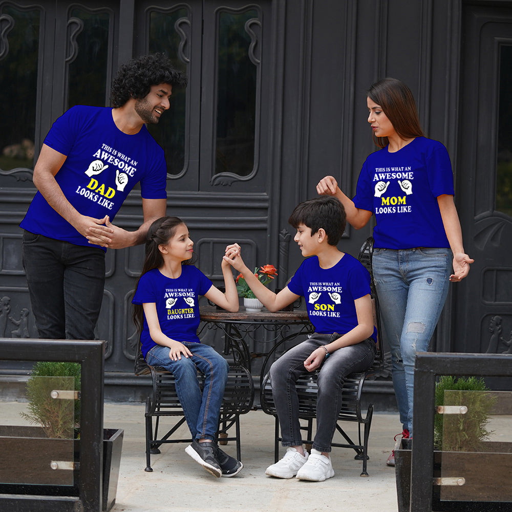 Awesome Mom Dad Son Daughter Family T-Shirts For 4