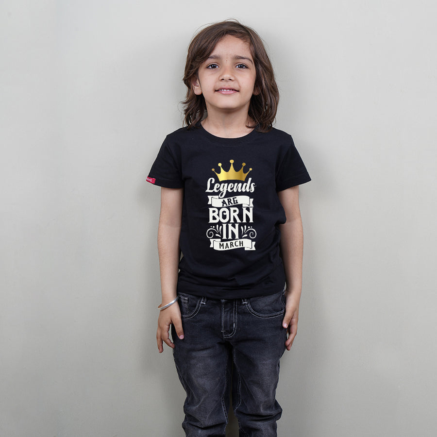 Stubborne Legends Are Born In March Kids T-Shirt