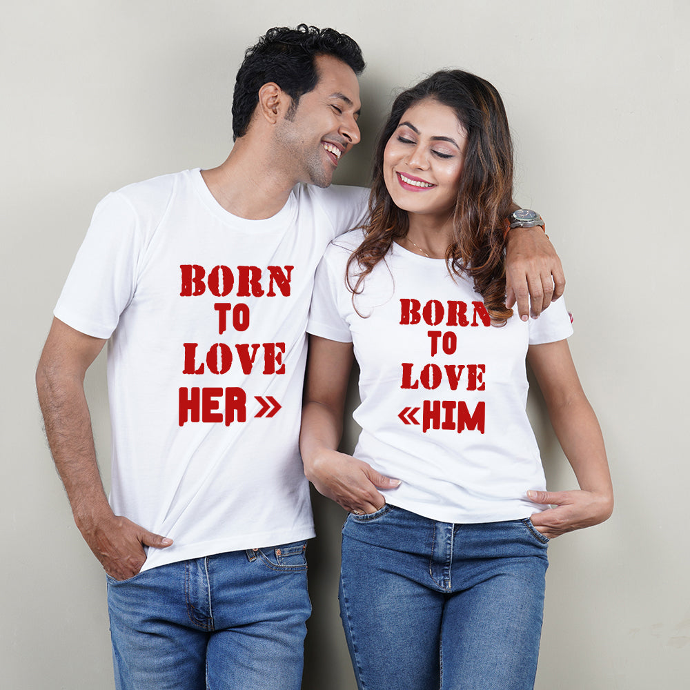 Born To Love White Couple T-Shirts