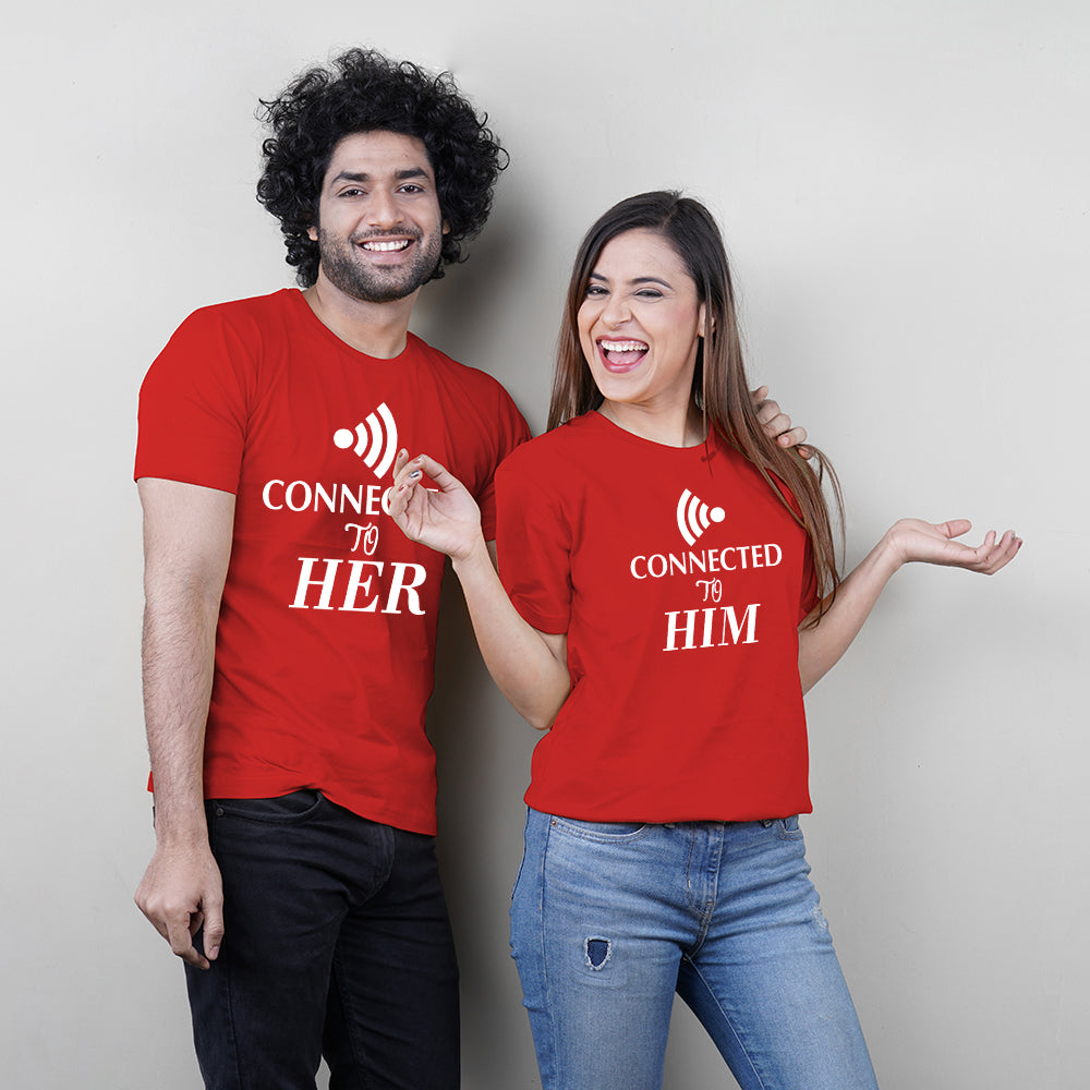 Connected To Him Her Red Couple T-Shirts