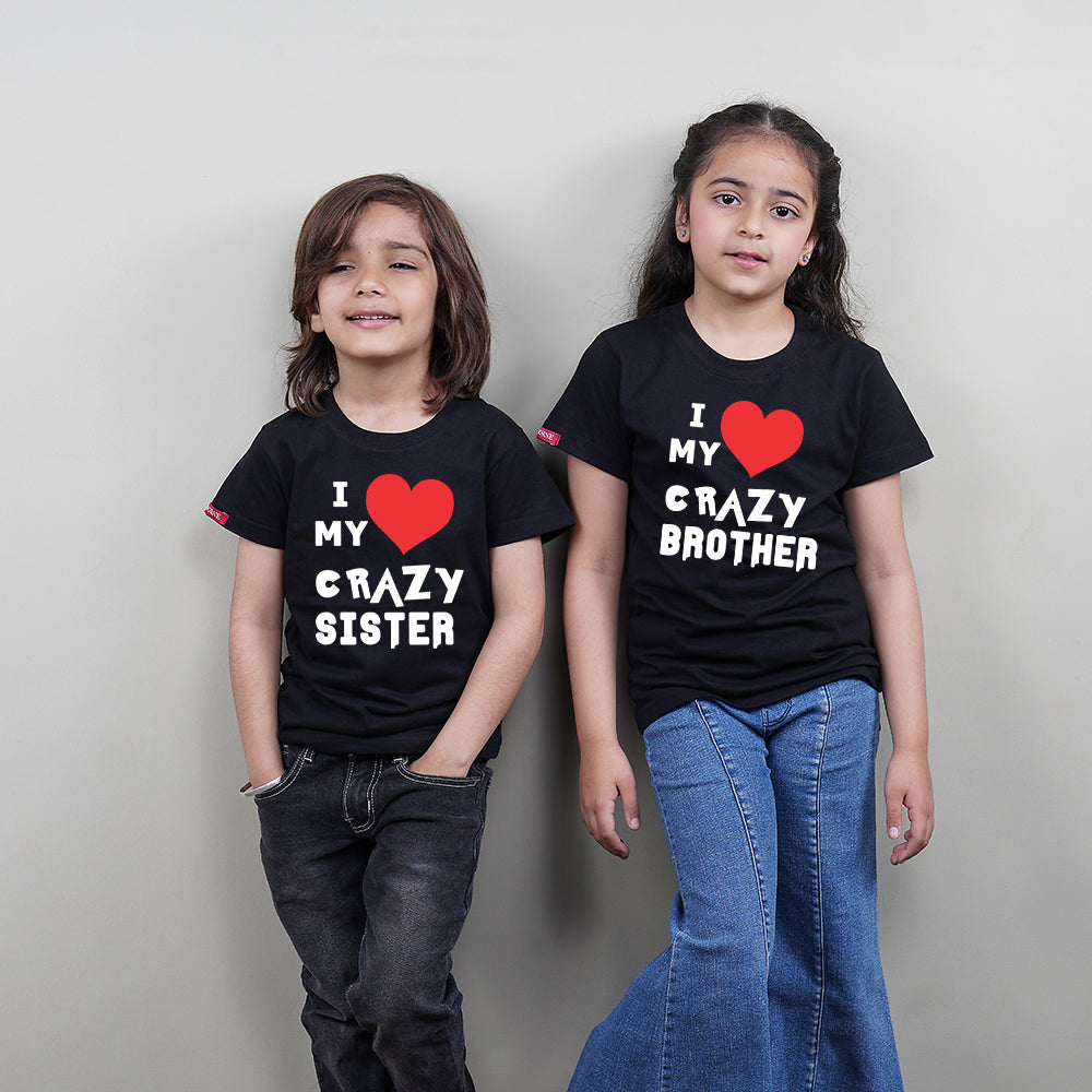 Stubborne Crazy Brother Sister Matching Siblings T-Shirt Combo