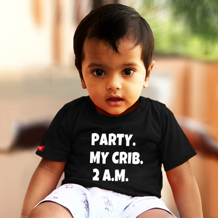 Kids Black T-Shirt (Party My Crib 2 A.M) Stubborne
