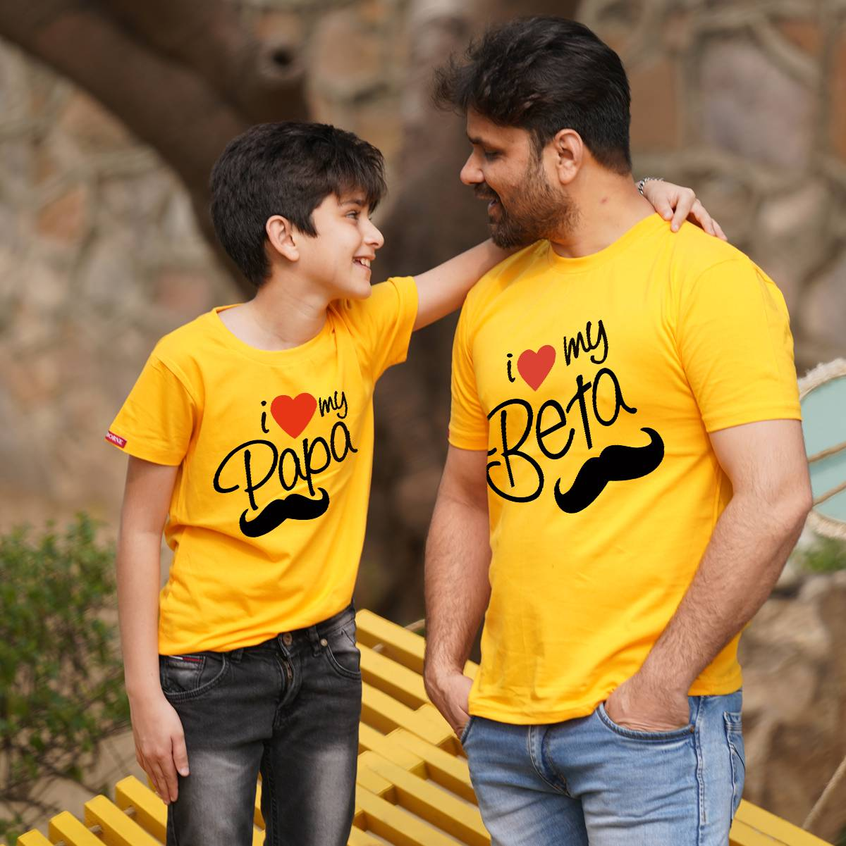 I Love Beta Papa Dad Son Combo in Yellow
