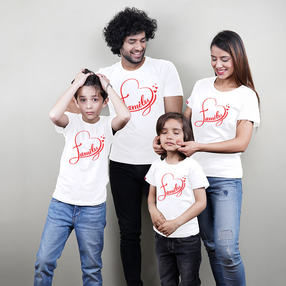 Family Heart Mom Dad Kids Family TShirts
