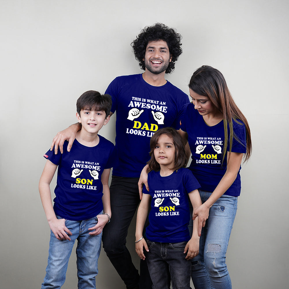 Awesome Mom Dad Son Family T-Shirts For 4