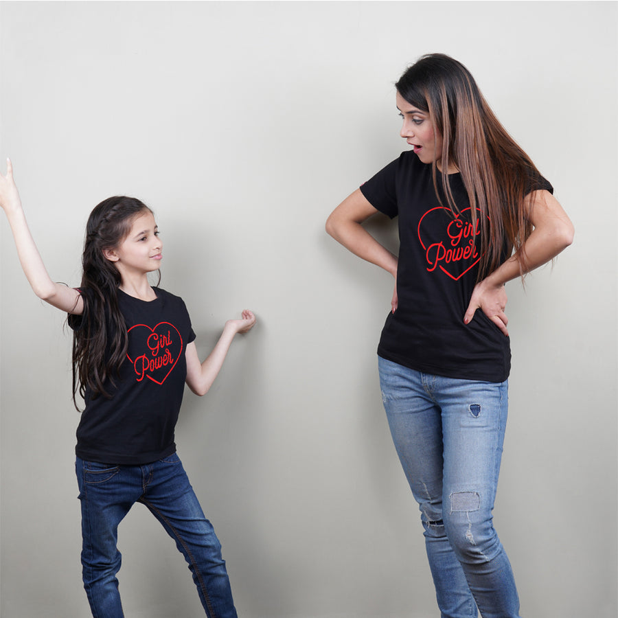 Girl Power Mom Daughter TShirt Combo