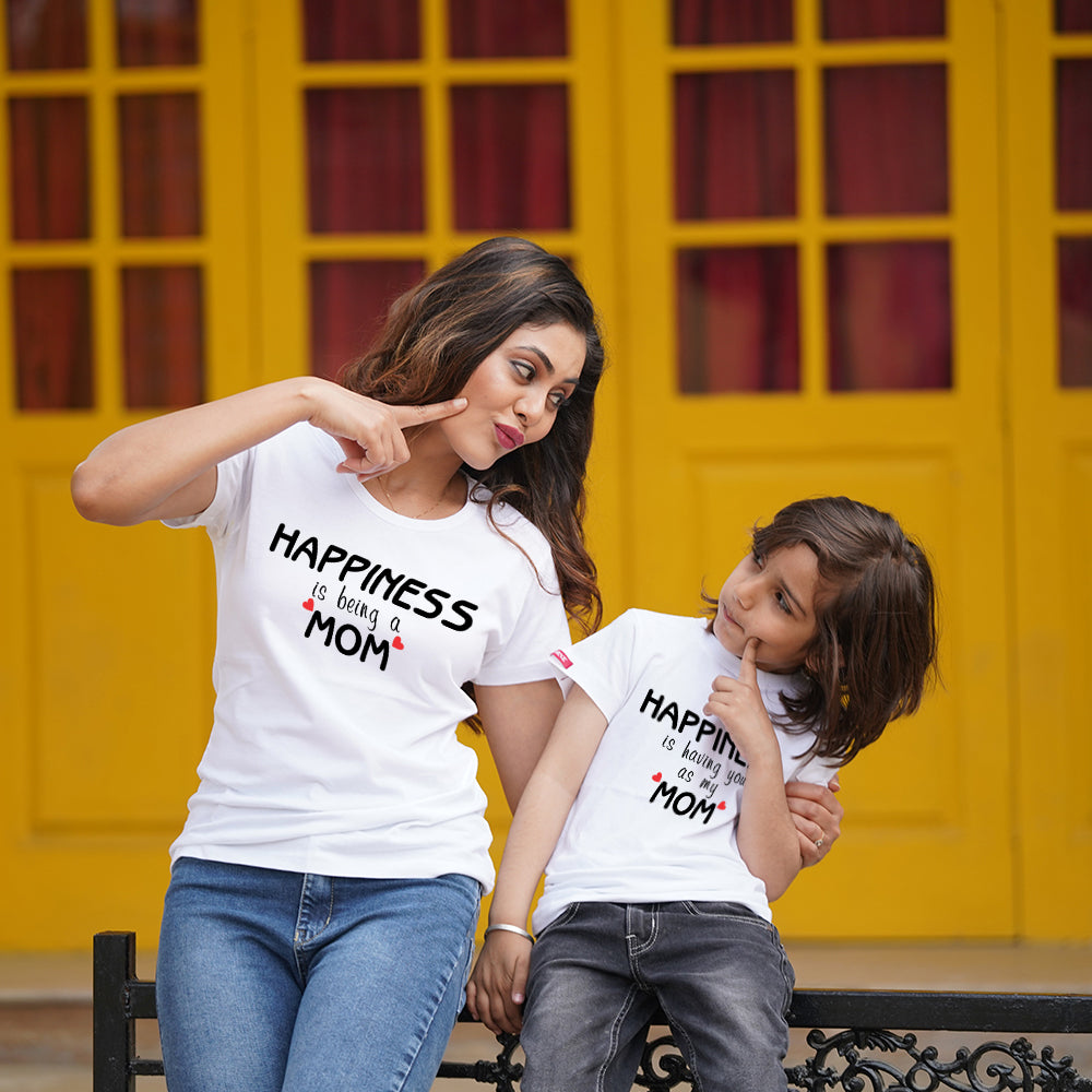Happiness is Being Mom Son TShirts Combo