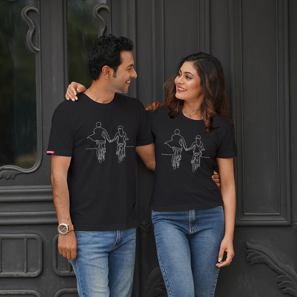 Stubborne Hold Hands Black Couple T-Shirt