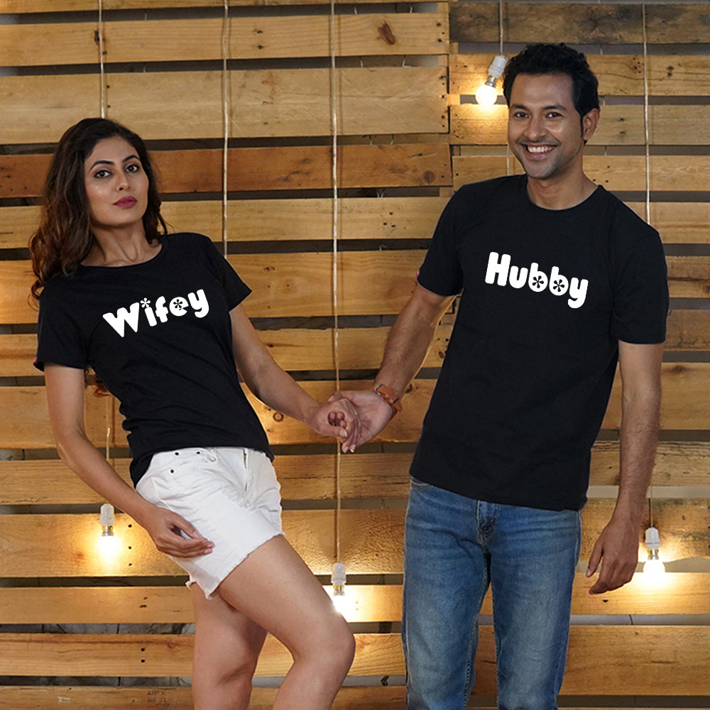 Stubborne Hubby Wifey Black Couple T-Shirt Combo
