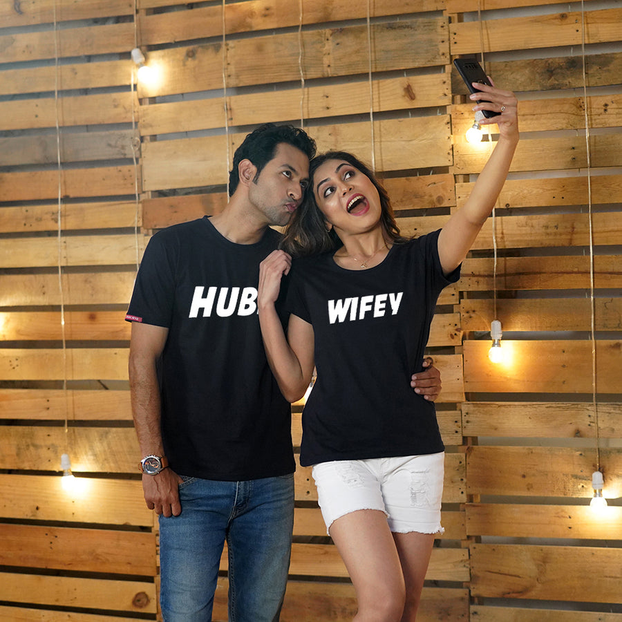 Stubborne Hubby Wifey Black Couple T-Shirt