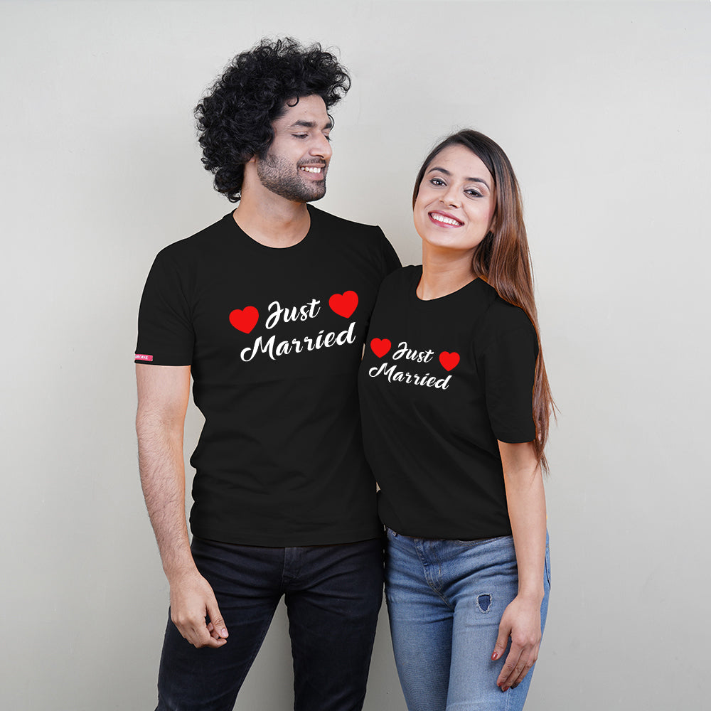 Stubborne Just Married Couple T-Shirt Combo In Black