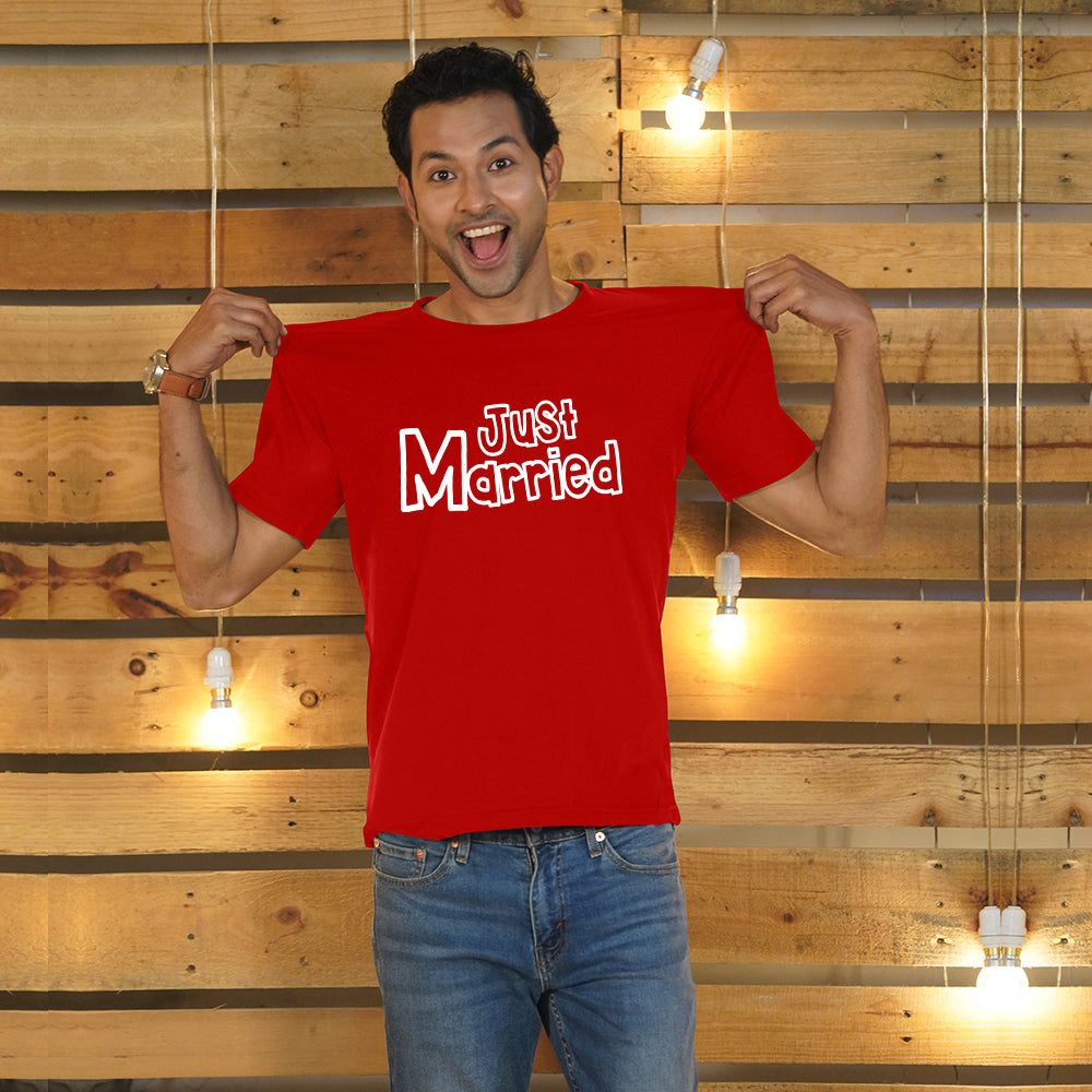 Stubborne Just Married Red Couple T-Shirt Combo