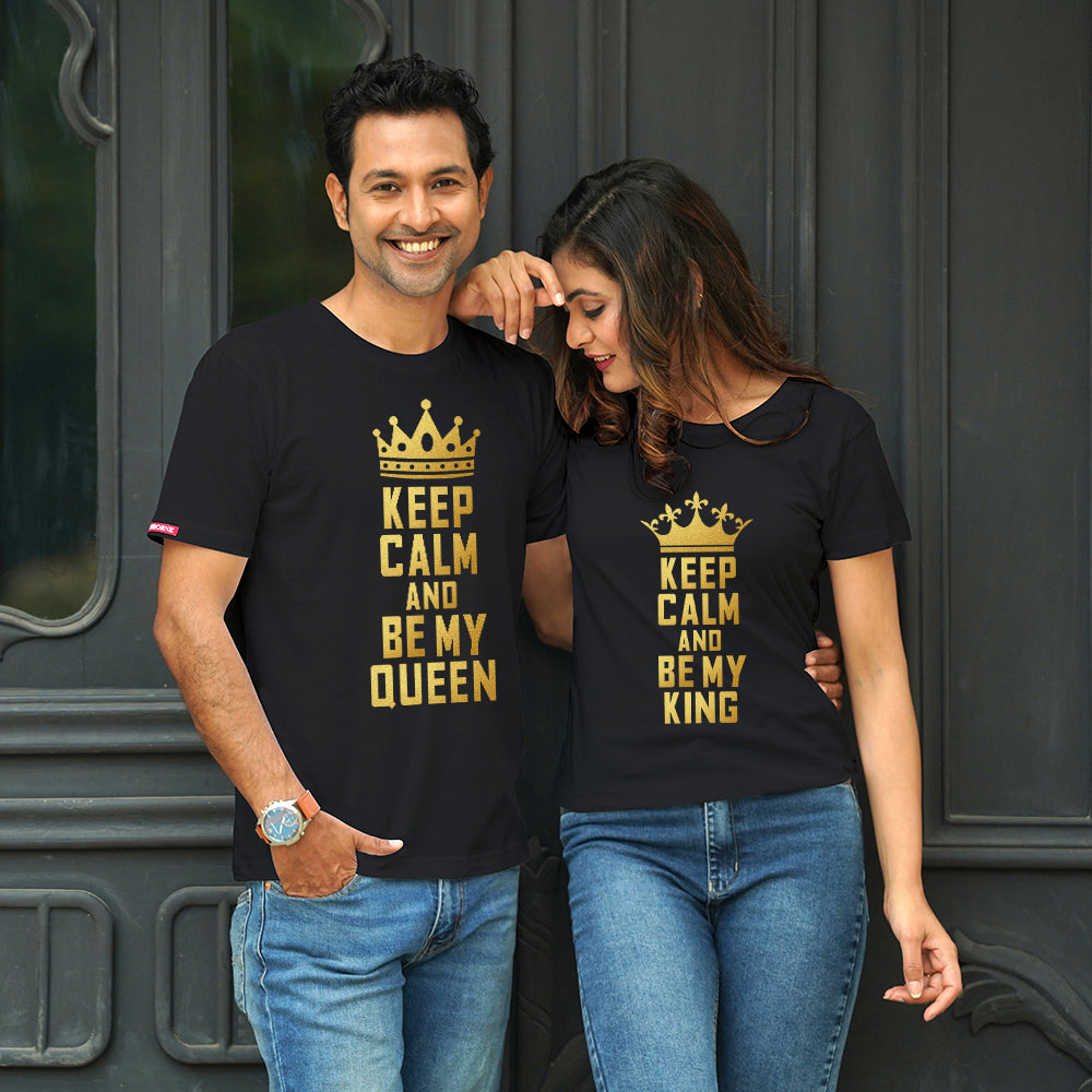 Stubborne Keep Calm King And Queen Couple T-Shirt