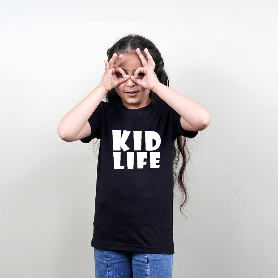 Black Color Kids T-Shirt (Kid Life) Stubborne