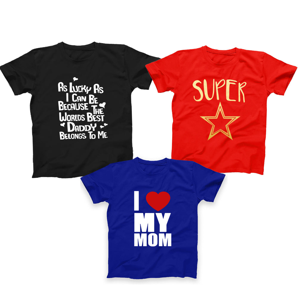 Kids T-Shirts Pack of 3  (Super Star, I love My Mom, As Lucky)
