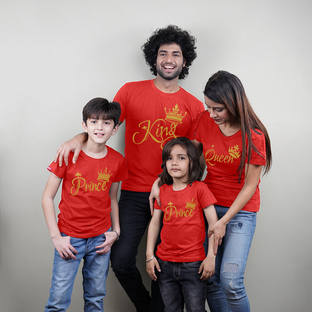 King Queen Prince Prince Family of 4 T-Shirts in Red