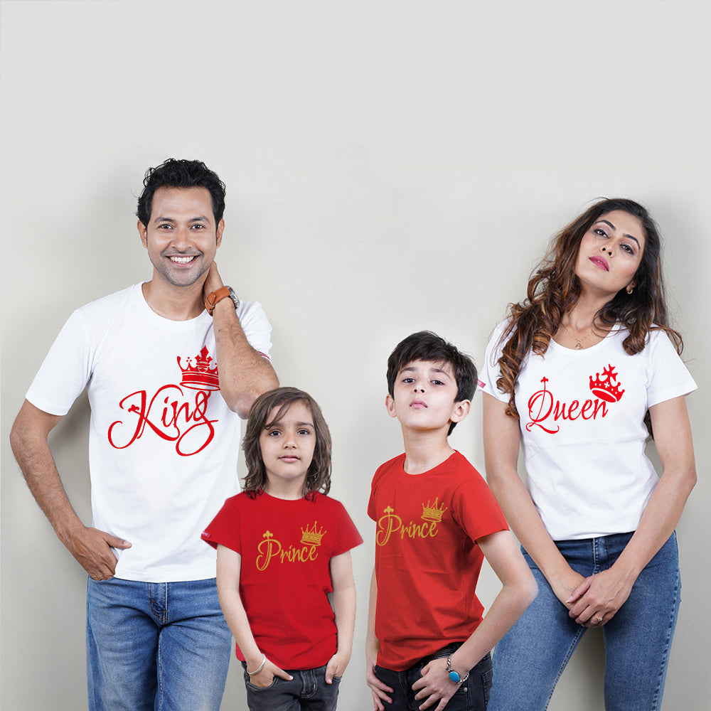 King Queen Prince Prince Family T-Shirts for 4 White and Red ❤❤❤❤PLEASE ENTER KIDS AGE/SIZE IN BOX BELOW FOR NEXT DAY DISPATCH❤❤❤❤