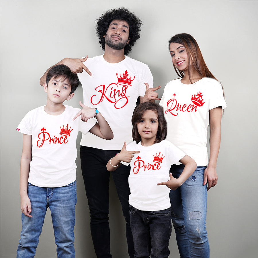 King Queen Prince Prince Family of 4 T-Shirts White
