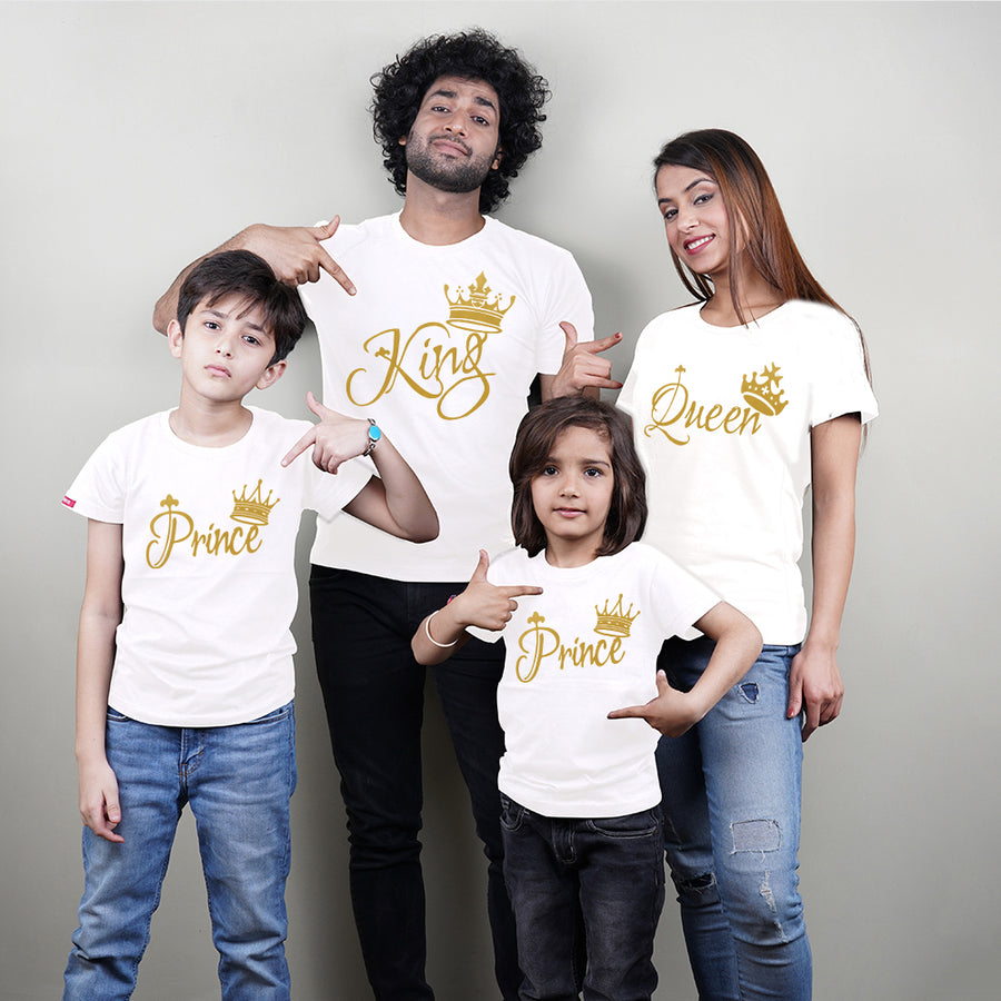 King Queen Prince Prince Family T-Shirt  In White