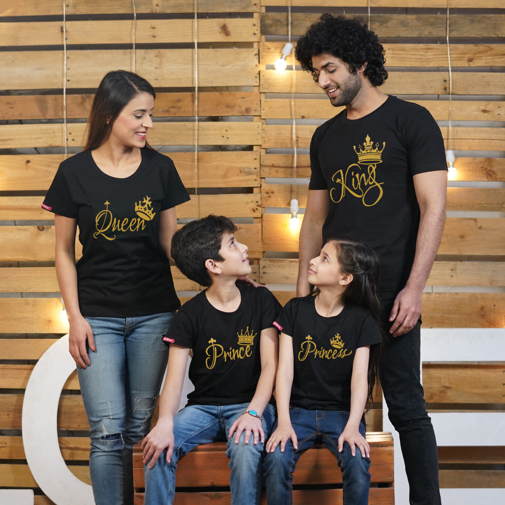 Stubborne King Queen Prince Princess T-Shirts Family Combo for 4
