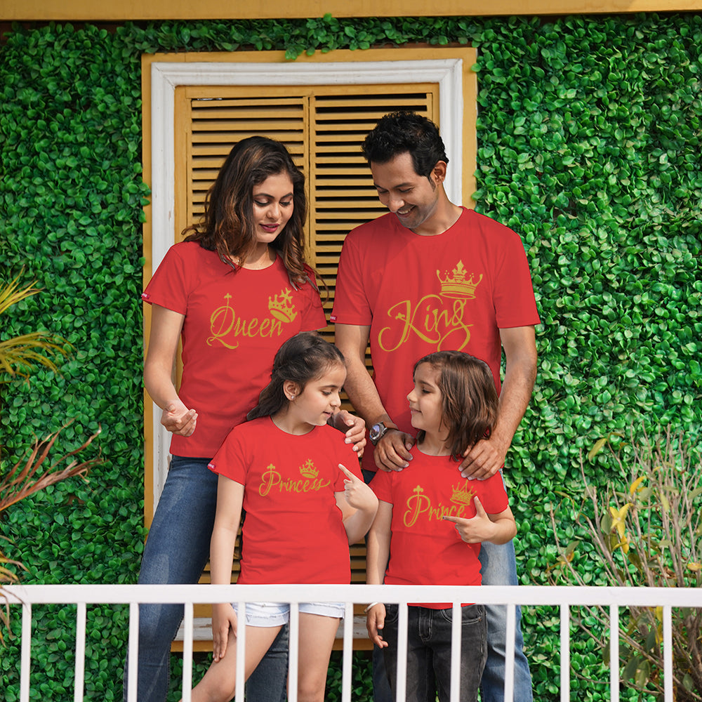 King Queen Prince Princess Family of 4 T-Shirts in Red