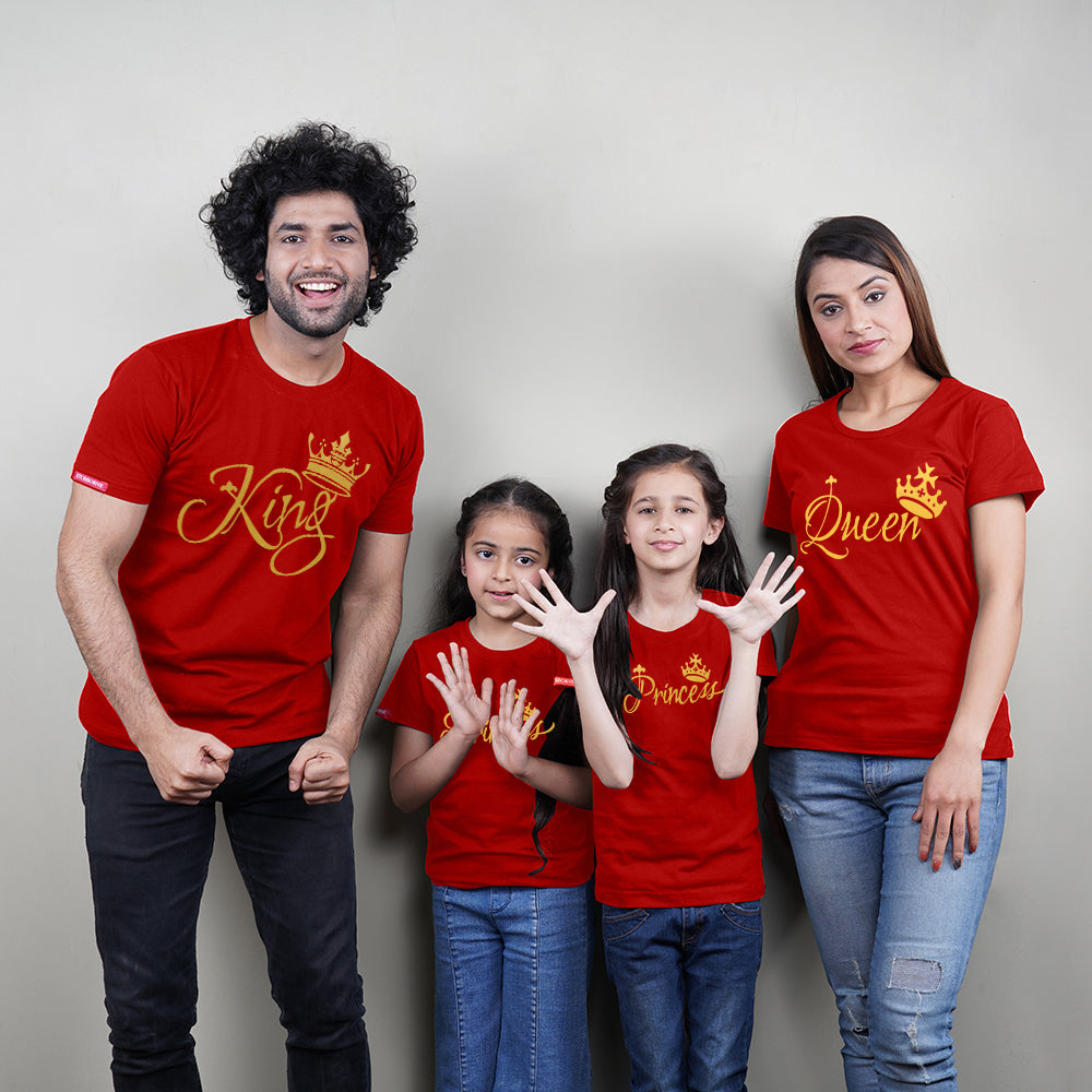 King Queen Princess Princess Family of 4 T-Shirts in Red