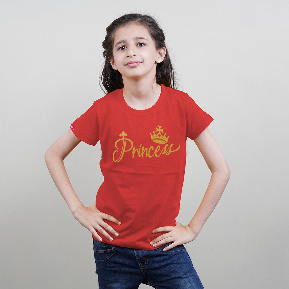 King Queen Princess Princess Family T-Shirts for 4 White-Red ❤❤❤❤PLEASE ENTER KIDS AGE/SIZE IN BOX BELOW FOR NEXT DAY DISPATCH❤❤❤❤