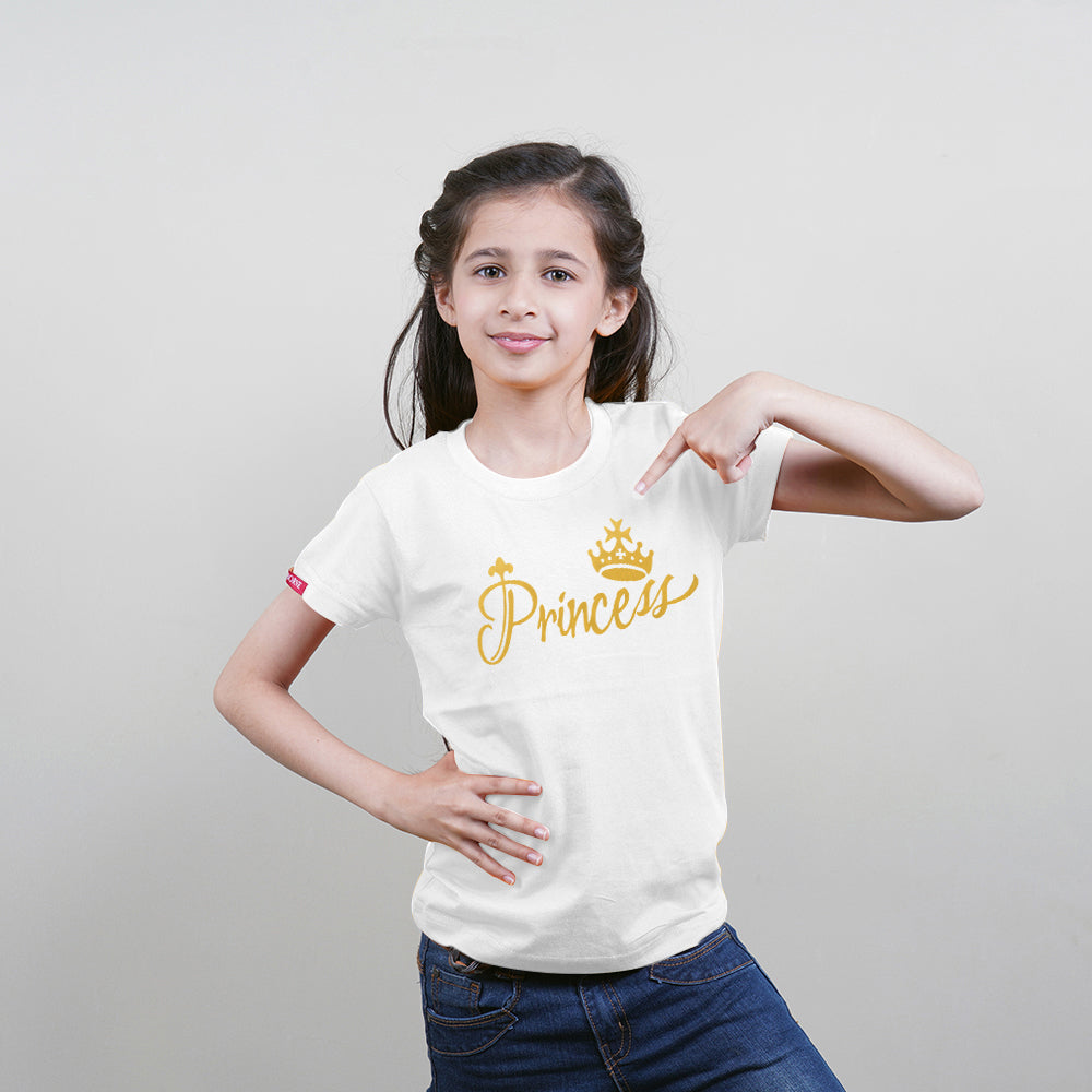 King Queen Princess Princess Family of 4 T-Shirts White ❤❤❤❤PLEASE ENTER KIDS AGE/SIZE IN BOX BELOW FOR NEXT DAY DISPATCH❤❤❤❤
